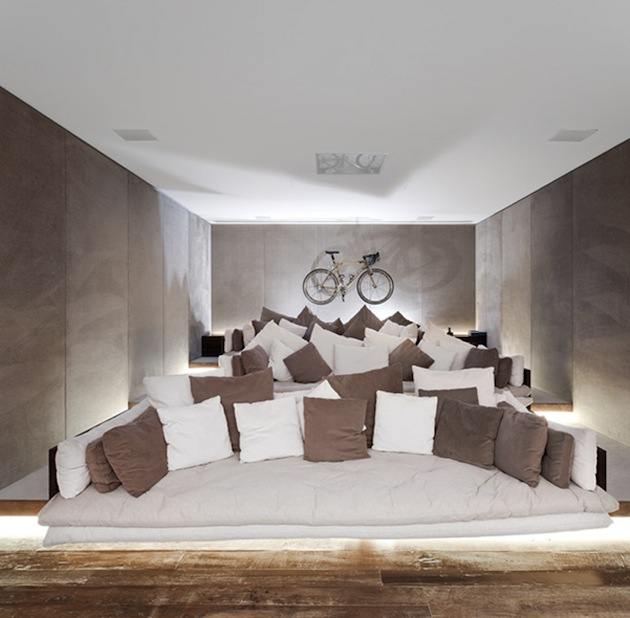 home theater design with modular art ceiling and walls view in ...