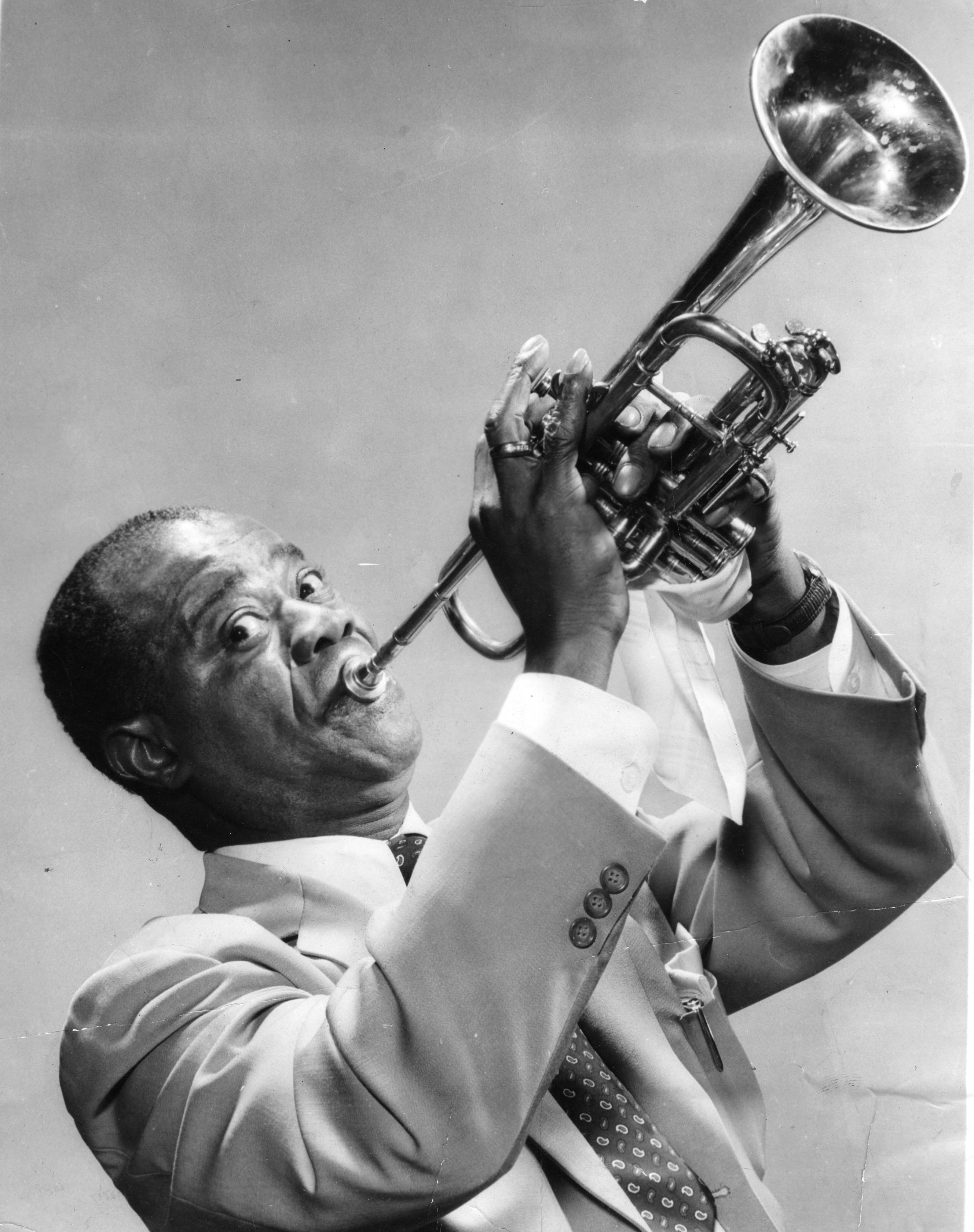 Louis Armstrong Playing Trumpet To His Wife