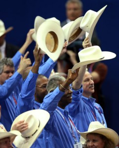 People-from-the-texas-delegation-wave-cowboy-hats-during-the-third-day-of-the-republican-national